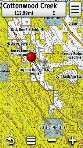 Screenshot of HUNT Montana for Garmin by onXmaps displayed on a Garmin Montana 600 GPS unit