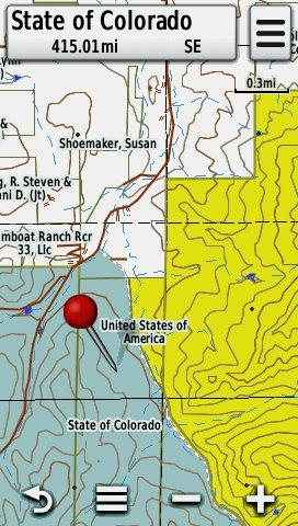 Screenshot of HUNT Colorado Topo Map with Land Ownership Information on a Garmin Montana GPS