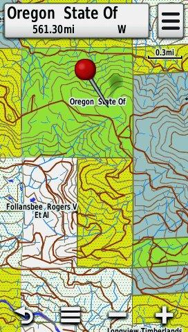 Screenshot of HUNT Oregon for Garmin by onXmaps displayed on a Garmin Montana 600 GPS Unit