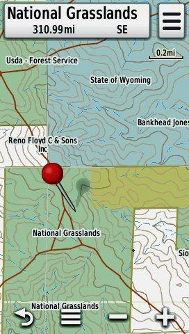 Screenshot of HUNT Wyoming by onXmaps displayed on a Garmin Montana 600 GPS Unit
