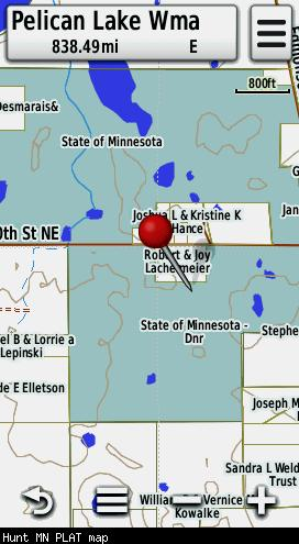 Screenshot of HUNT Minnesota for Garmin by onXmaps displayed on a Garmin Montana 600 GPS unit