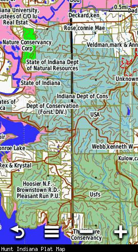 Screenshot of the HUNT Indiana Map by onXmaps displayed on a Garmin Montana 600 GPS unit