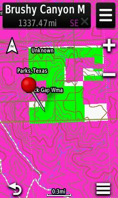 Screenshot of HUNT Texas for Garmin from onXmaps displayed on a Garmin Montana 600 GPS unit