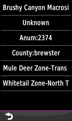Screenshot of the feature list in HUNT Texas for Garmin from Hunting GPS Maps displayed on a Garmin Montana 600 GPS unit