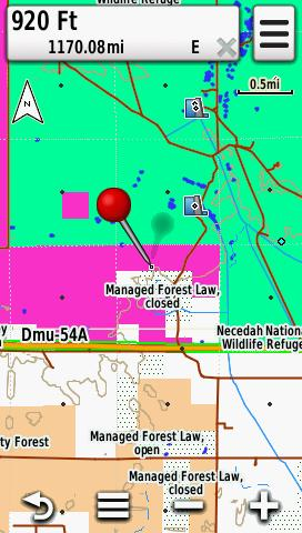 Screenshot of HUNT Wisconsin for Garmin from Hunting GPS Maps displayed on a Garmin Montana 600 GPS unit